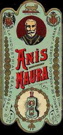 Etiqueta antigua alargada Anís Naura
